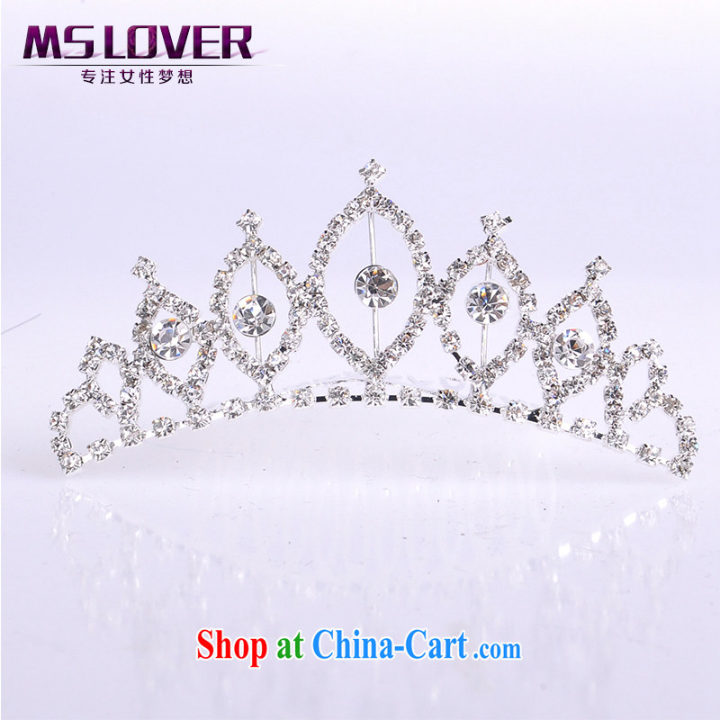 MSlover flower accessories water drilling children Crown headdress Korean Princess hair accessories children's performances and the comb small Crown S 130,804 silver