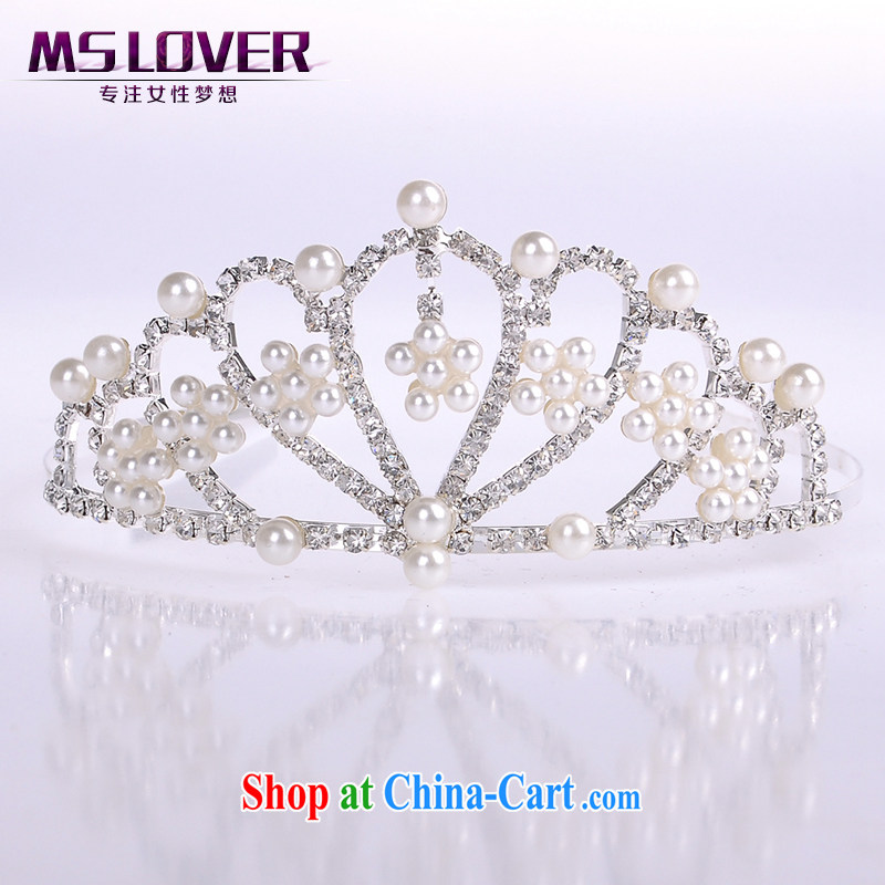 MSlover shining pearl crystal alloy bridal Crown bridal accessories and ornaments hair accessories wedding hair accessories the clamp SP 1077 silver