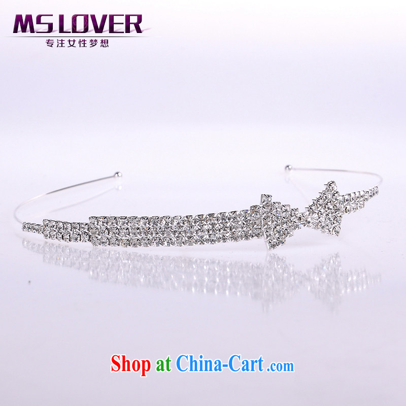 MSlover bowtie crystal alloy bridal Crown bridal accessories and ornaments hair accessories wedding hair accessories the clamp SP 1061 silver