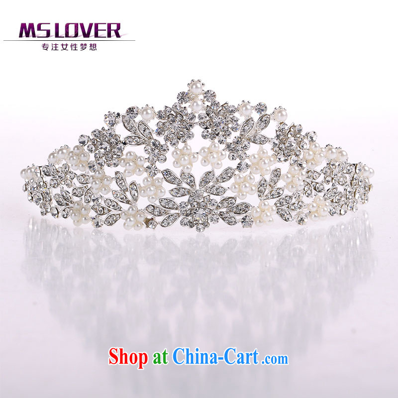 MSlover flowers are thick Pearl crystal alloy bridal Crown bridal accessories and ornaments hair accessories wedding hair accessories SP 0138 silver