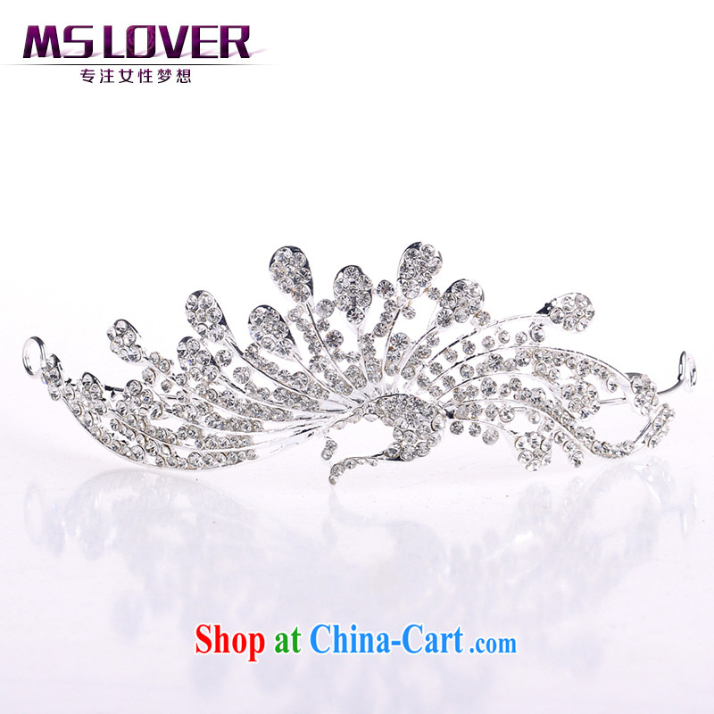 MSlover dancing phoenix auspicious sparkling crystal alloy bridal Crown bridal accessories and ornaments, decorated Wedding hair accessories SP 0130 silver