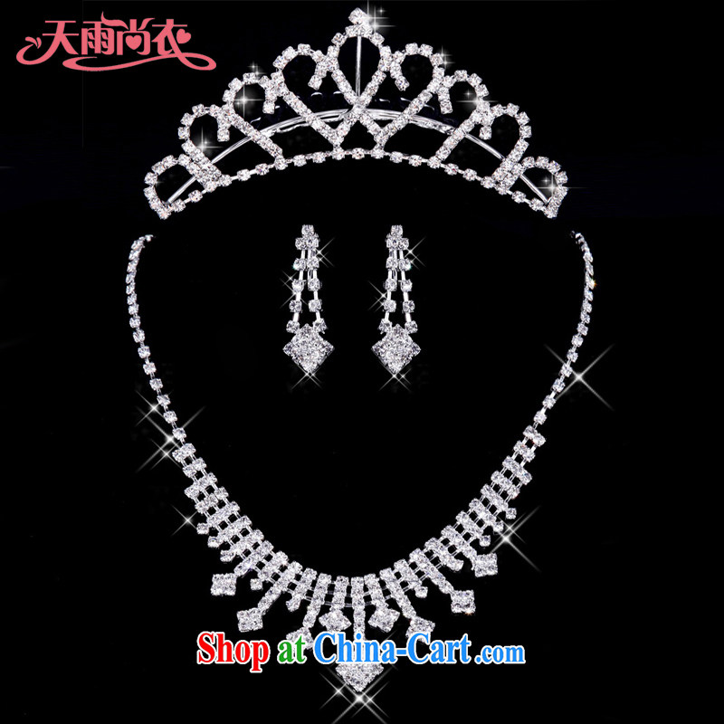 Rain is still clothing bridal jewelry wedding dresses necklace with water drilling marriage necklace earrings Crown 3-piece XL 019 + HG 64 3 piece XL 019+ HG 64