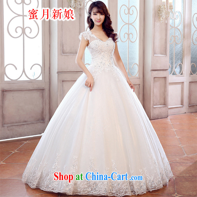Honeymoon bride spring 2015 new wedding dresses elegant package shoulder Princess Palace Korean-style wedding band wedding with shaggy strap wedding white XL