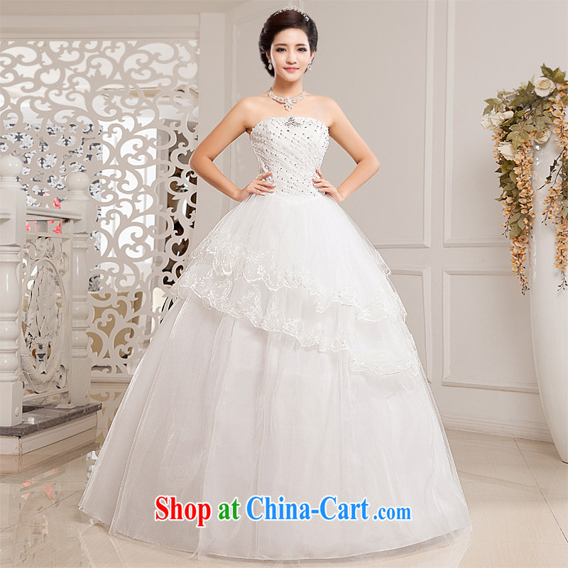 Honeymoon bridal wedding dresses 2015 new Korean fashion erase chest wedding with shaggy straps Princess wedding white XL