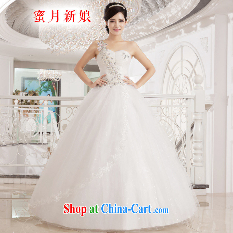 Honeymoon bridal wedding dresses 2015 new Korean sweet Princess single shoulder wedding parquet drill with wedding shaggy straps Princess wedding white XL