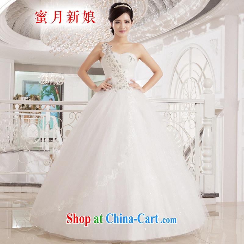 Honeymoon bridal wedding dresses 2015 new Korean sweet Princess single shoulder wedding parquet drill with wedding shaggy straps Princess wedding white XL