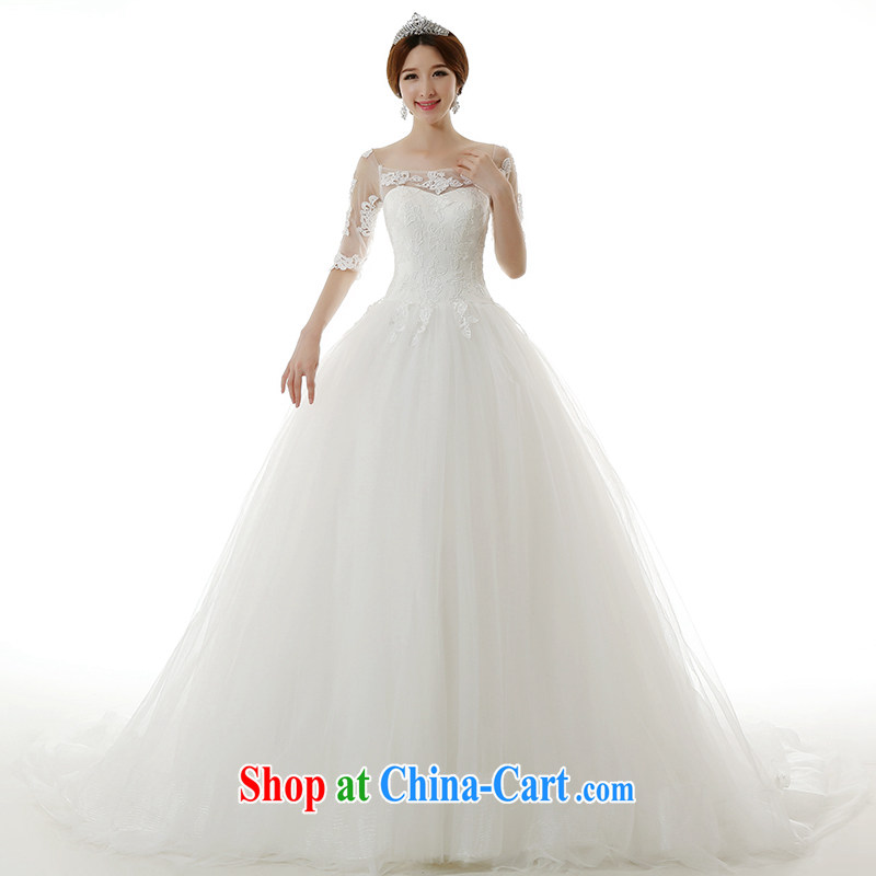 Kit-man 2015 spring and summer New a Field shoulder bare chest, long-sleeved-tail wedding dresses Korean-style package shoulder graphics thin tie-the-tail wedding dresses white tailored