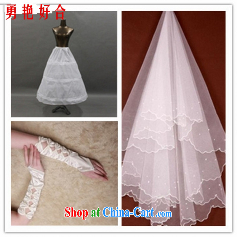 Yong-yan and marriages wedding dresses with ornaments and yarn 3 piece set, head dresses, aprons, gloves white