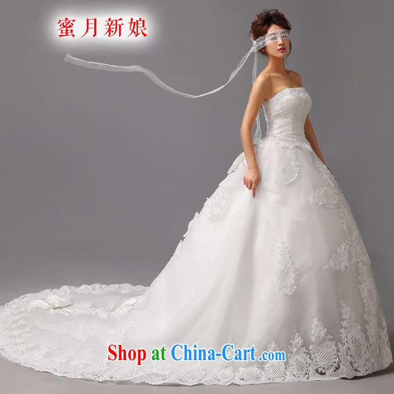 Honeymoon bridal wedding dresses 2015 new Korean Princess tail wedding Deluxe lace bare chest wedding white XL