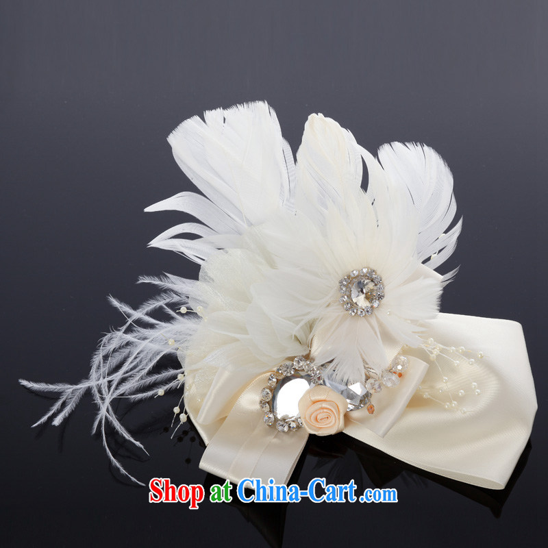 MSLover sweet butterfly knot feather bridal wedding accessories and ornaments, jewelry bridal and flower ornaments TH 130,713 white