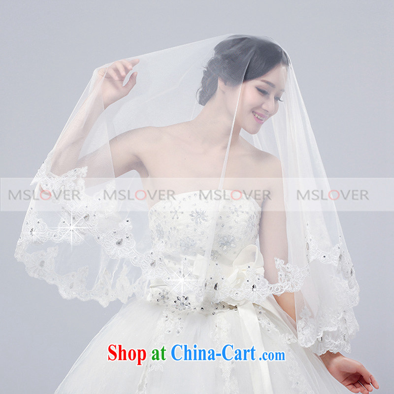MSLover lace lace 2M single layer wedding dresses accessories bridal wedding head-dress long head yarn wood drill,