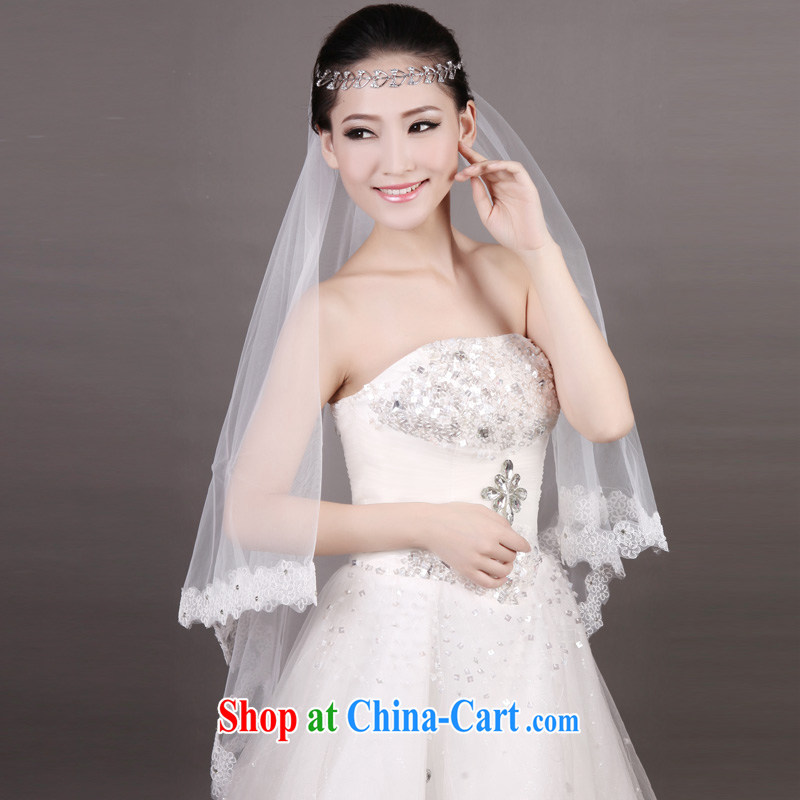 MSLover wavy lace 1.8M double-decker short head dresses wedding dresses accessories marriages and legal TS 131,015 white