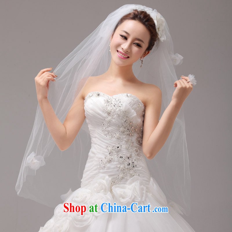 MSLover fresh flowers double 1M wedding dresses accessories marriages and yarn TS 131,122 m White