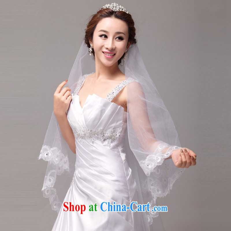 MSLover bird lovers of lace lace single layer wedding dresses accessories marriages and long yarn tail and yarn white 3M