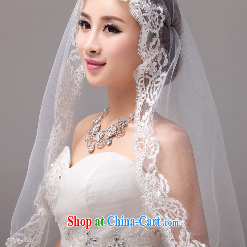 MSLover French lace 3M single layer wedding dresses accessories marriages and long yarn tail and legal TS 131,111 white