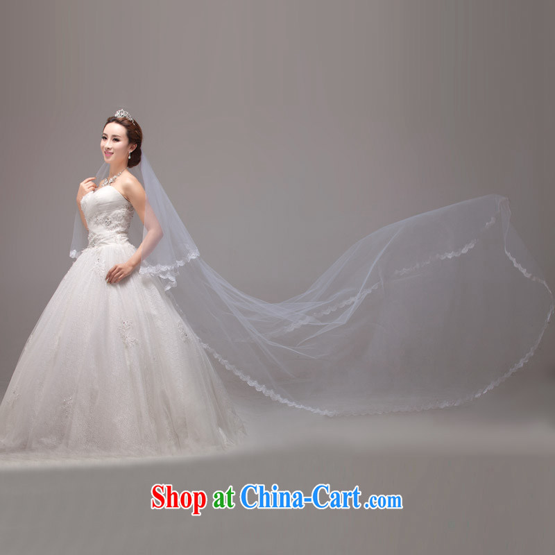 MSLover lace lace 3M single layer wedding dresses accessories marriages and long yarn tail and legal TS 131,105 white