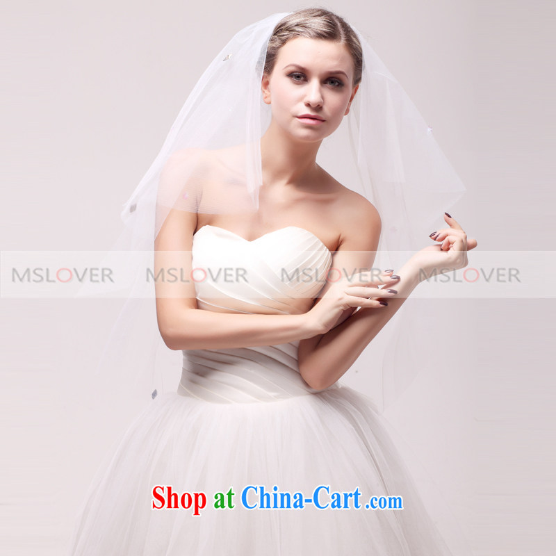 MSLover stylish Color drill 1.5 M layer 2 wedding dresses accessories bridal wedding head-dress, ornaments and yarn TS 121,142 white