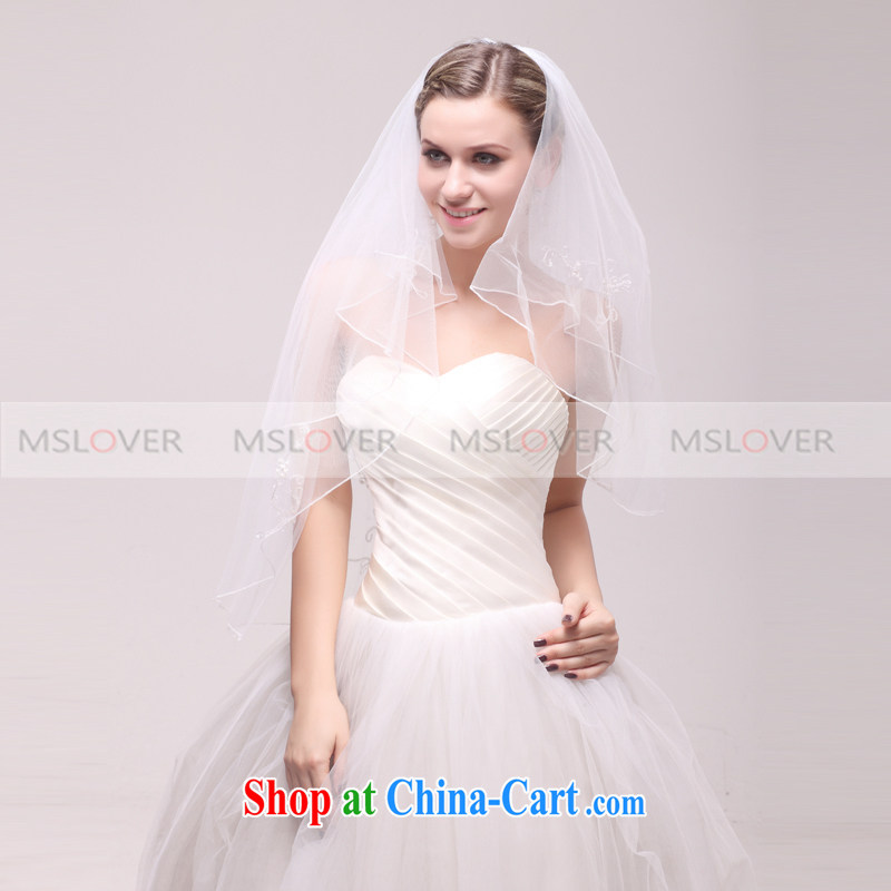 MSLover embroidery volume edge 1.2 M layer 2 wedding dresses accessories bridal wedding head-dress, ornaments and yarn TS 121,134 white