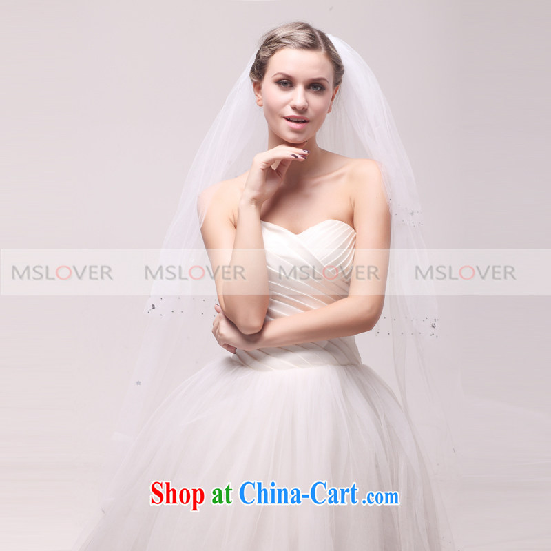 MSLover elegant parquet drill 1.5 M layer 3 wedding dresses accessories bridal wedding head-dress, ornaments and yarn TS 121,133 white