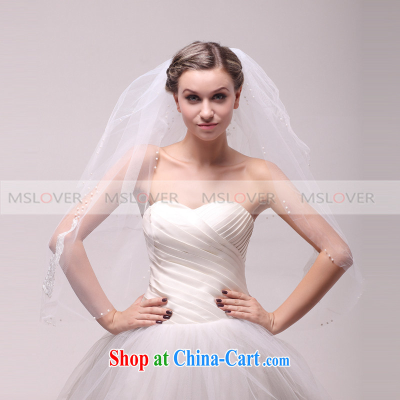 MSLover 1M double wedding dresses accessories bridal wedding head-dress, ornaments and yarn TS 121,129 white