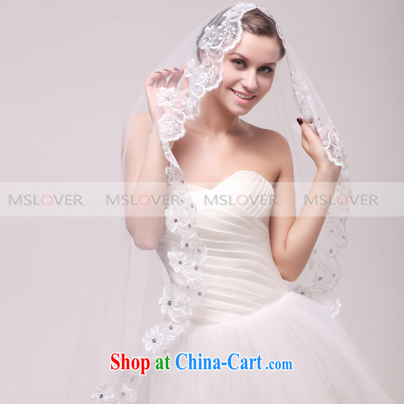 MSLover lace side panels drill 2.5-meter single layer wedding dresses accessories marriages and the trim long head yarn TS 121,103 white