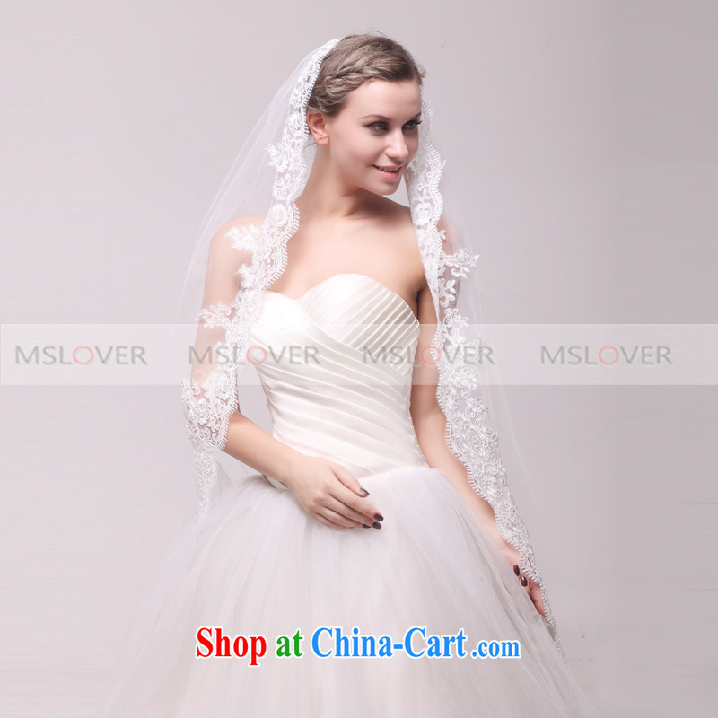 MSLover high-end yarn and 5 meters in length single layer wedding dresses accessories bridal wedding head-dress, ornaments and yarn TS 120,346 white