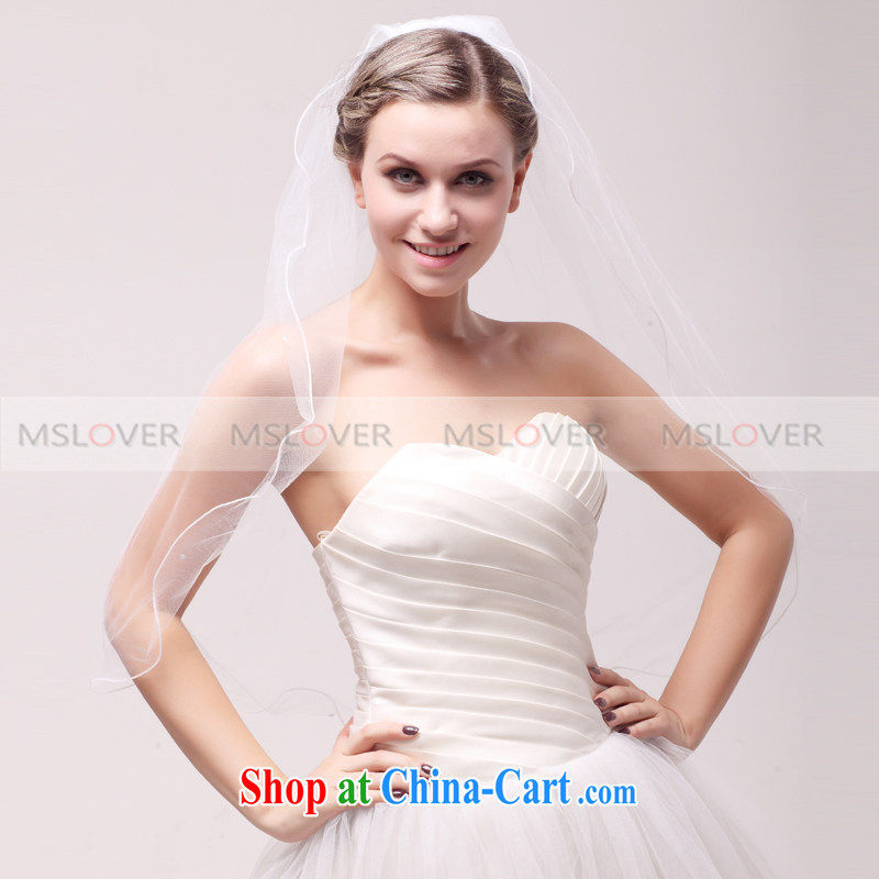 MSLover parquet drill 0.7 M single layer wedding dresses accessories bridal wedding head-dress, ornaments and yarn TS 120,339 white