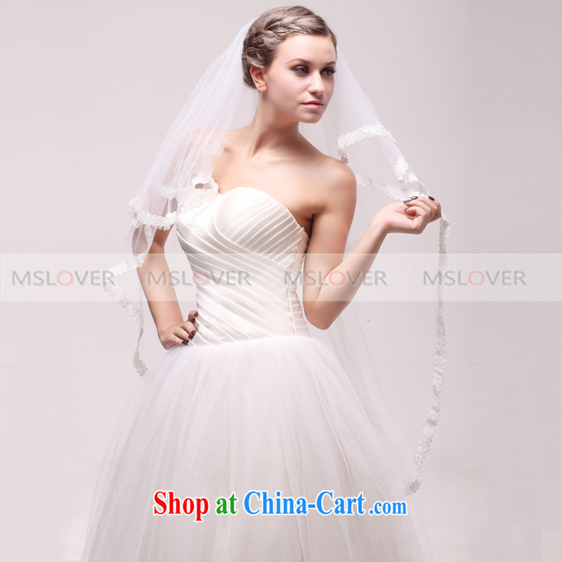 MSLover beautiful lace 1.1 M double wedding dresses accessories bridal wedding head-dress, ornaments and yarn TS 120,342 white
