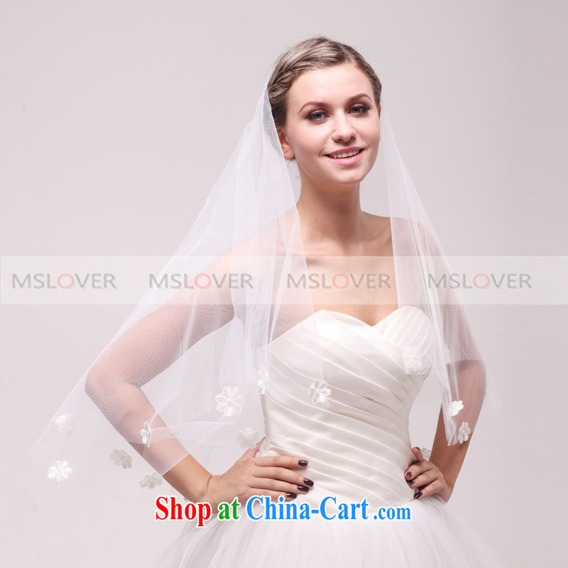 MSLover simplicity and Sea of Flowers 1.5 M single layer wedding dresses accessories bridal wedding head-dress, ornaments and yarn TS 120,335 white