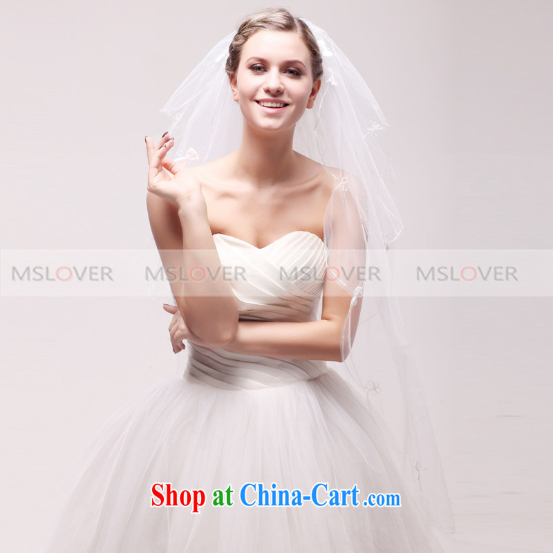 MSLover sweet bowtie 1.1 M layer 3 wedding dresses accessories bridal wedding head-dress, ornaments, and yarn TS 120,321 white