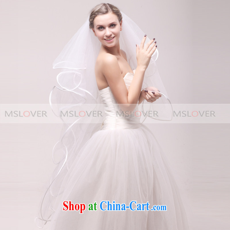 MSLover edge curl 1.5 M 4-Layer wedding dresses accessories marriages and the trim long head yarn TS 120,324 white