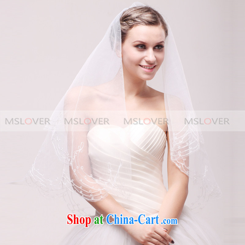 MSLover 1.5 M single layer wedding dresses accessories bridal wedding head-dress, ornaments and yarn TS 120,303 white