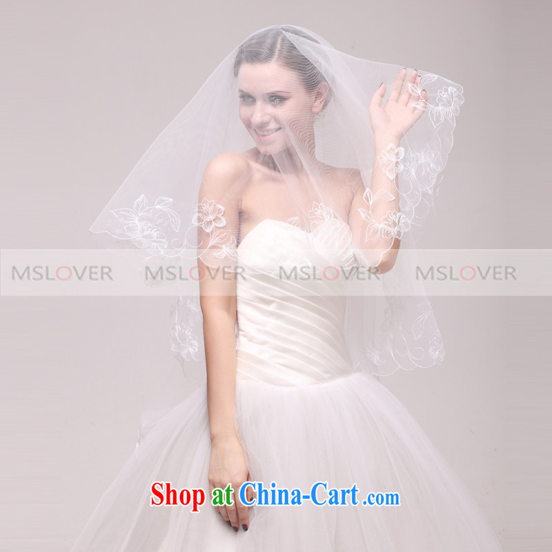 MSLover high-end yarn embroidery lace 3M single-layer wedding dresses accessories marriages and legal long head yarn TS 120,318 white