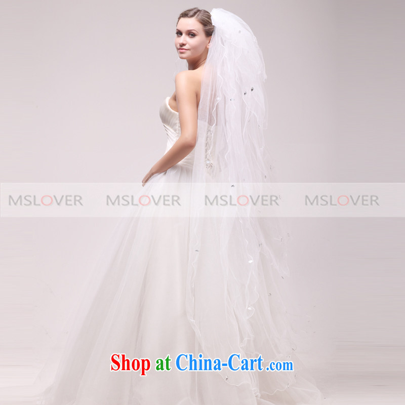 MSLover parquet drill 1.5 M 10-story wedding dresses accessories marriages multi-layer and yarn TS 12,031 m White