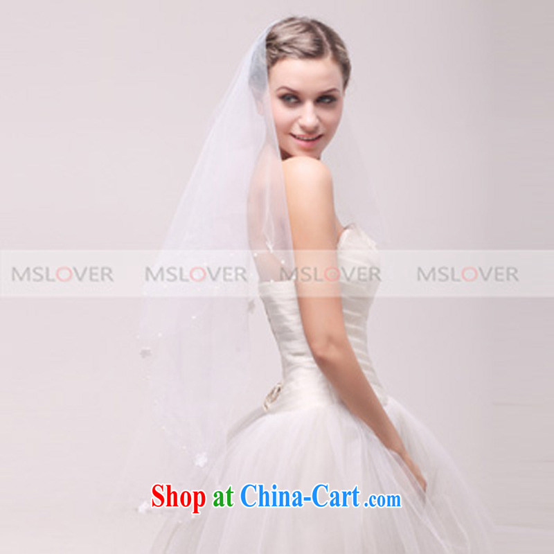 MSLover flowers Pearl edge 1.5 M single layer wedding dresses accessories bridal wedding head-dress and yarn TS 120,314 white