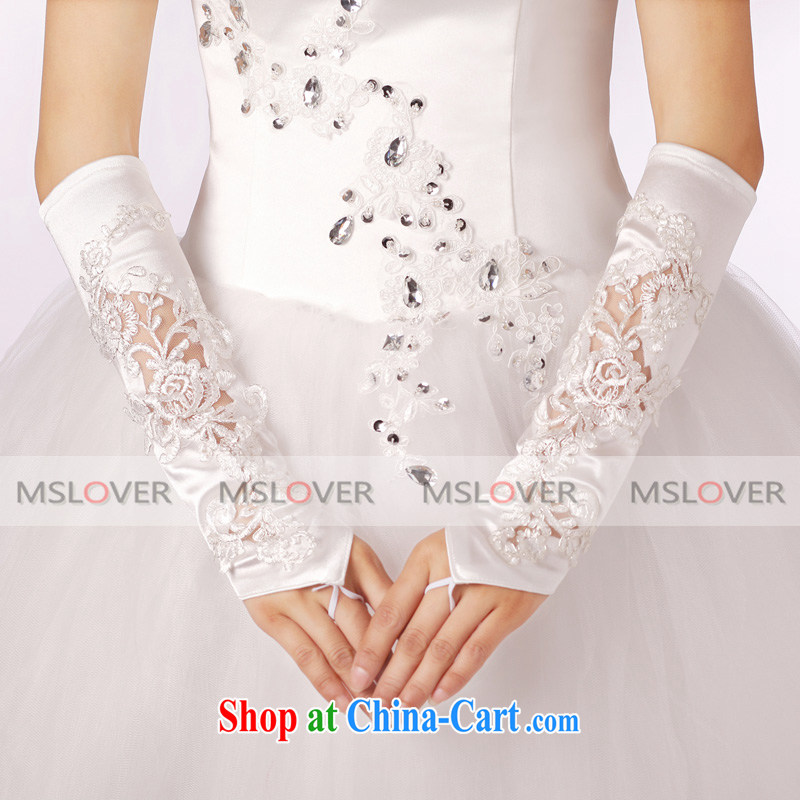 LACE Openwork tick the long Dinner Show bridal wedding gloves wedding dresses accessories ST 1311 M white
