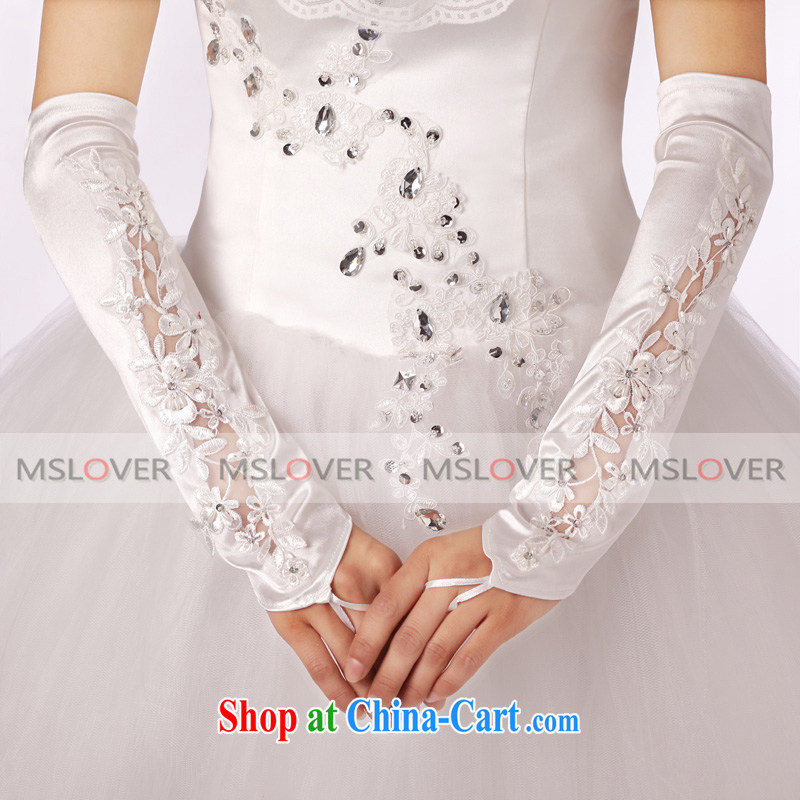 MSLover lace inserts drill Openwork Satin 5 refer to long, bridal wedding gloves wedding accessories ST 1203 m White