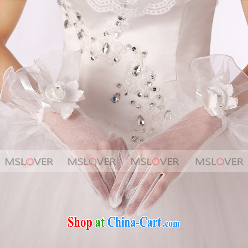 MSLover flowers lace yarn quality 5 refers to a short, Dinner Show bridal wedding gloves wedding accessories ST 1313 m White