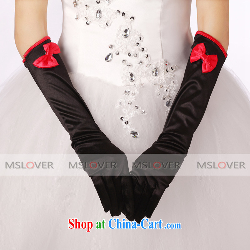 MSLover black red bow tie Satin 5 refers to long bridal banquet show gloves ST 1212 black