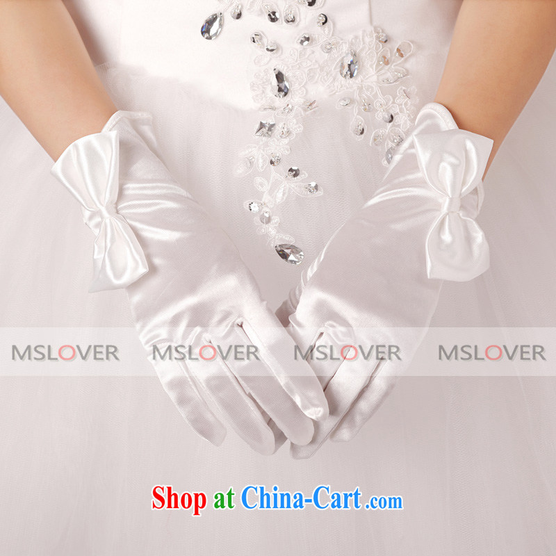 MSLover Bow Tie Satin 5 refers to a short, Dinner Show bridal wedding gloves wedding gloves ST 1315 m White