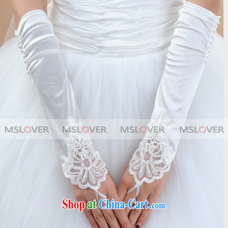 MSLover lace nails Pearl creases exposed a long Dinner Show bridal wedding gloves wedding gloves ST 1318 m White