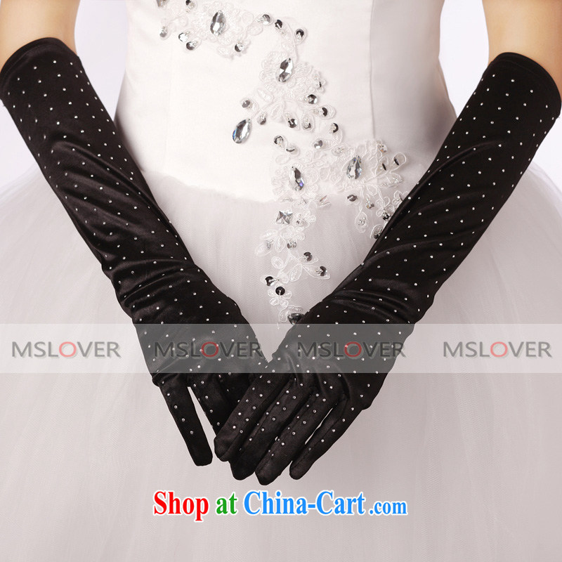 MSLover hot drill Satin 5 a long bridal banquet show gloves ST 1211 black