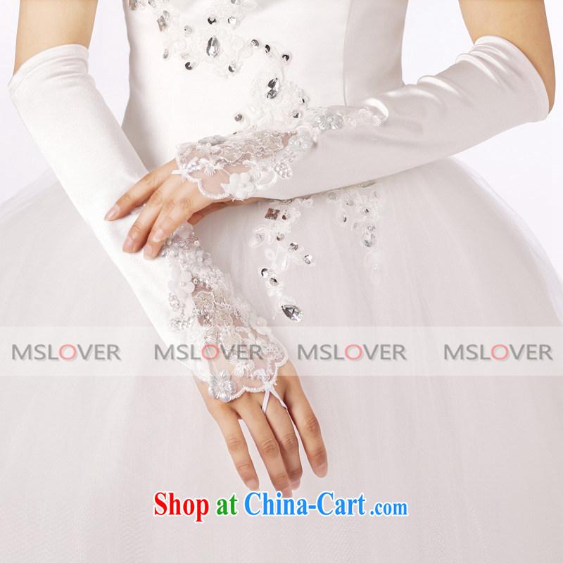 MSLover luxury lace flowers 5 refer to long, Dinner Show bridal wedding gloves wedding gloves ST 1303 m White, name, Mona Lisa (MSLOVER), online shopping