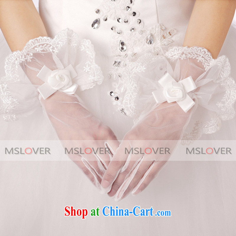 MSLover flower buds mesh panel 5 refers to a short, Dinner Show bridal wedding gloves wedding gloves ST 1314 m White