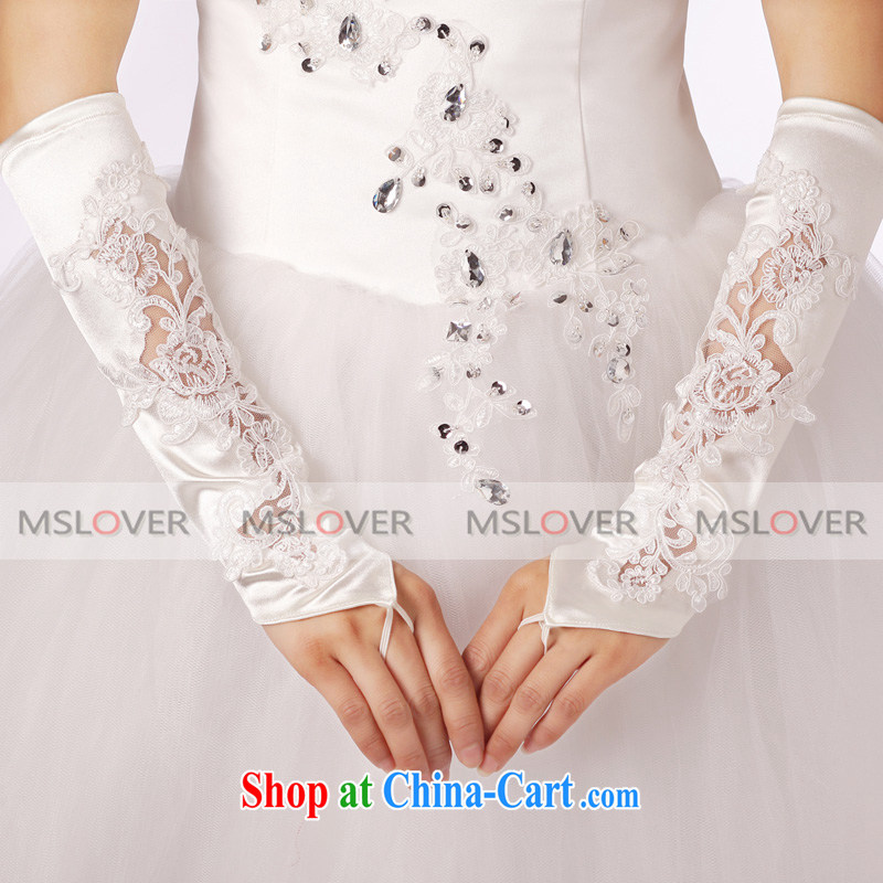 MSLover lace decals check refer to long, Dinner Show bridal wedding gloves wedding gloves ST 1309 m White