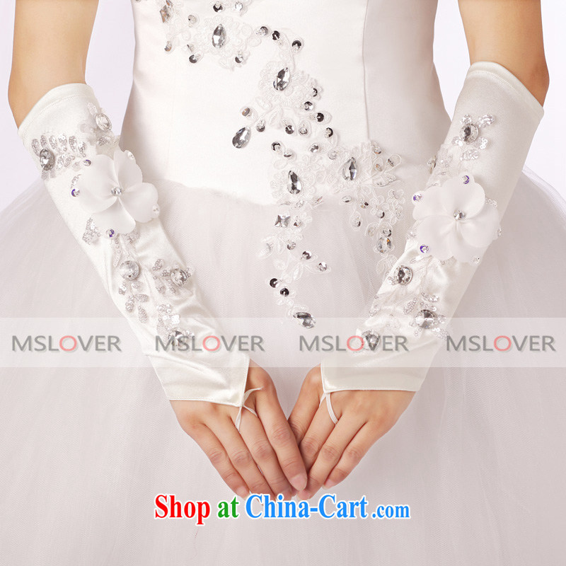 MSLover, lace wood drill Satin check refer to long, Dinner Show bridal wedding gloves wedding gloves ST 1312 white