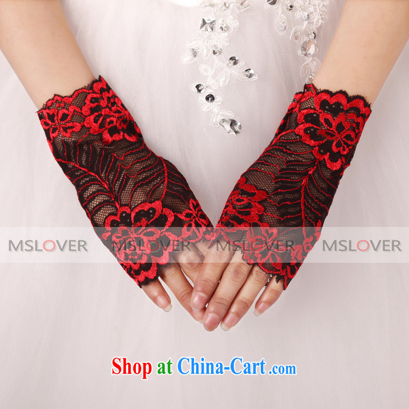 Ballet MSLover silk-embroidered terrace a short Dinner Show bridal gloves wedding dresses accessories 1230 ST red