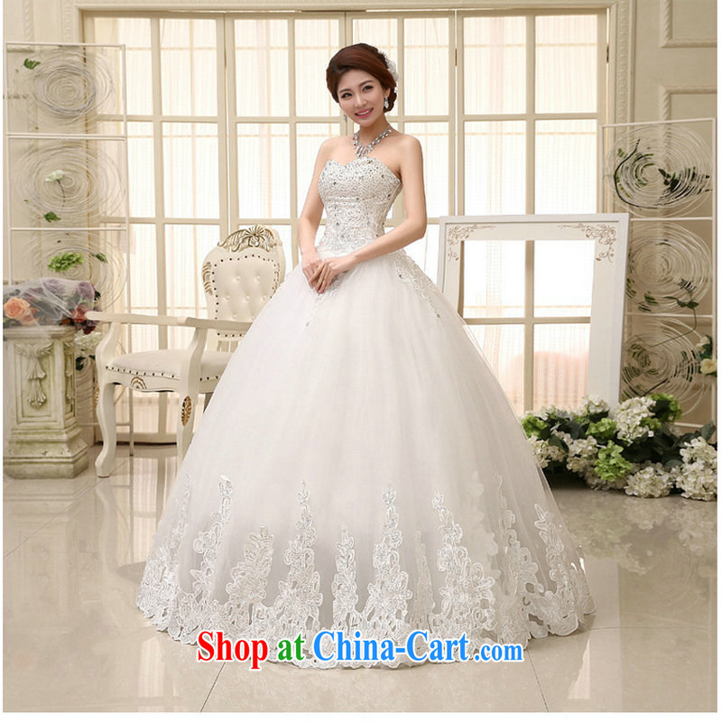 Philip Wong Yu-hong optimization spring 2014 new wedding dresses elegant sweet Mary Magdalene bride chest with Princess wood drill wedding XS 889 white XXL