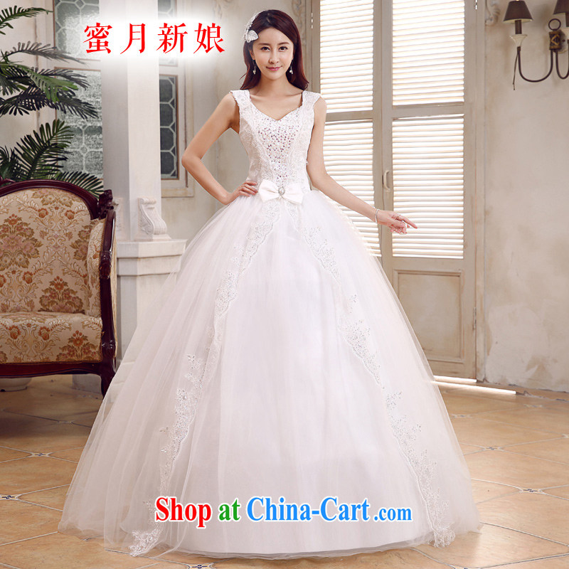 Honeymoon bridal 2015 new wedding elegant shoulders wedding new sweet Princess with straps wedding white XL