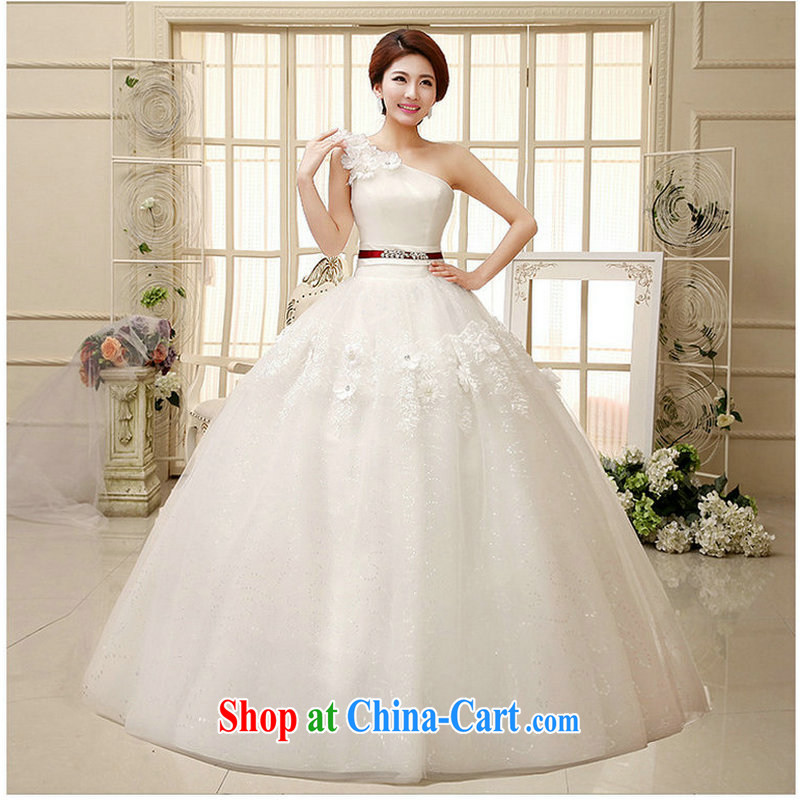 Optimize video wedding dresses new 2014 Korean elegant single shoulder strap cultivating white wedding XS 268 white XXL